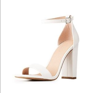 ✨NIB! Becca in White Ankle Strap Block Heels